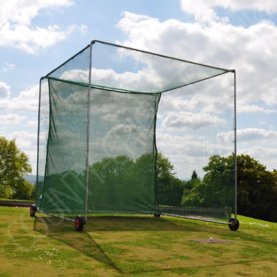 The cricket bating net cage cube. An easy to move portable mobile garden cricket net made from steel with 4 puncture proof wheels. Easy to move around the garden with a one piece cricket net and back target baffle. Can be used for golf with optional 20mm netting. Perfect for home use or for small cricket clubs and schools. Can be extended later if required.