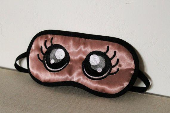 Masque de sommeil masque de nuit satin vieux rose brodé yeux Kawaii molleton coton double épaisseur satin noir élastique