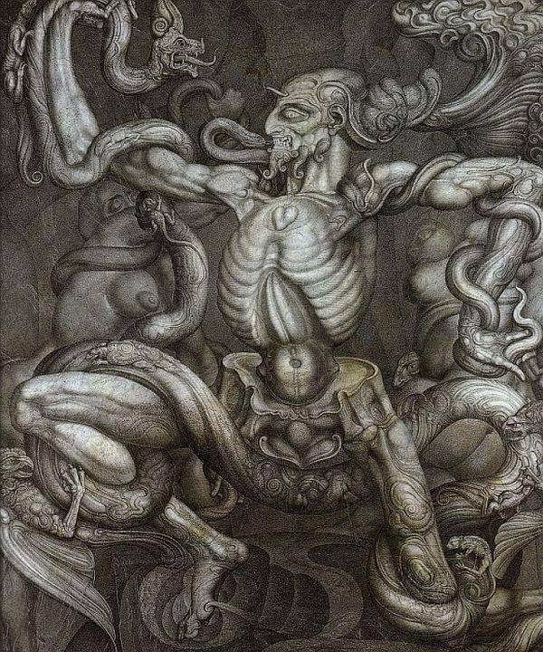 © Ernst Fuchs Anti-Laocoon drawing