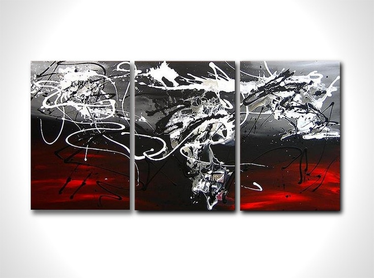 Huge multi panel abstract painting - contemporary abstract art - stretched and ready to hang - size 24x60. $165.00