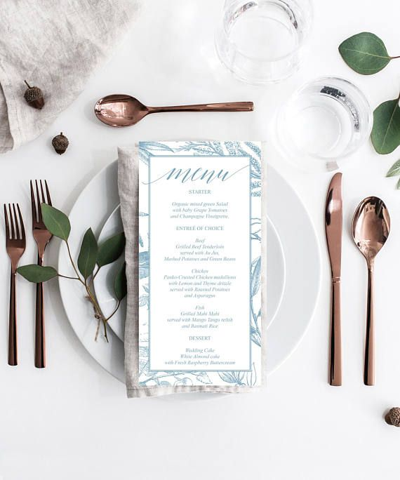 Dusty Blue Foliage Menu - Wedding Menu - Printable Menu - Menu Template by CreativeUnionDesign.Etsy.com #weddings #weddinginspiration #weddingtrends