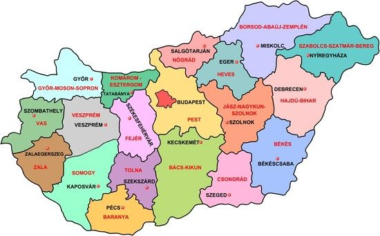 Magyarország közigazgatási térképe, feltüntetve a megyéket és a megyeszékhelyeket