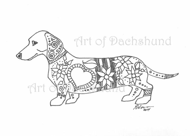 17 best ideas about dachshund tattoo on pinterest for Weiner dog coloring pages
