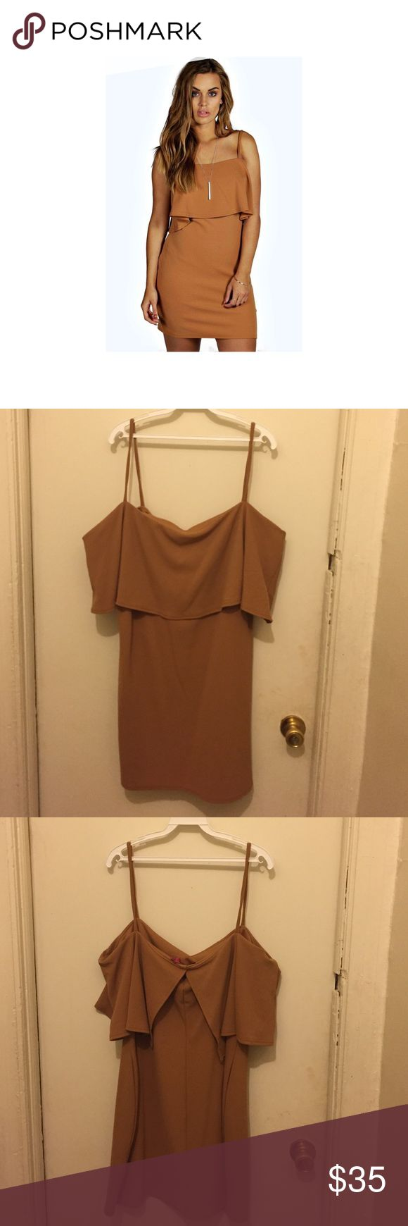Diana Double Layer Bodycon Dress NWT. Camel double layer Bodycon dress. Size 20 bought a year ago for my birthday NEVER WORN. Boohoo Plus Dresses Mini