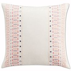 image of Cupcakes and Cashmere Painted Flowers Embroidered Mirrors Throw Pillow in White/Pink