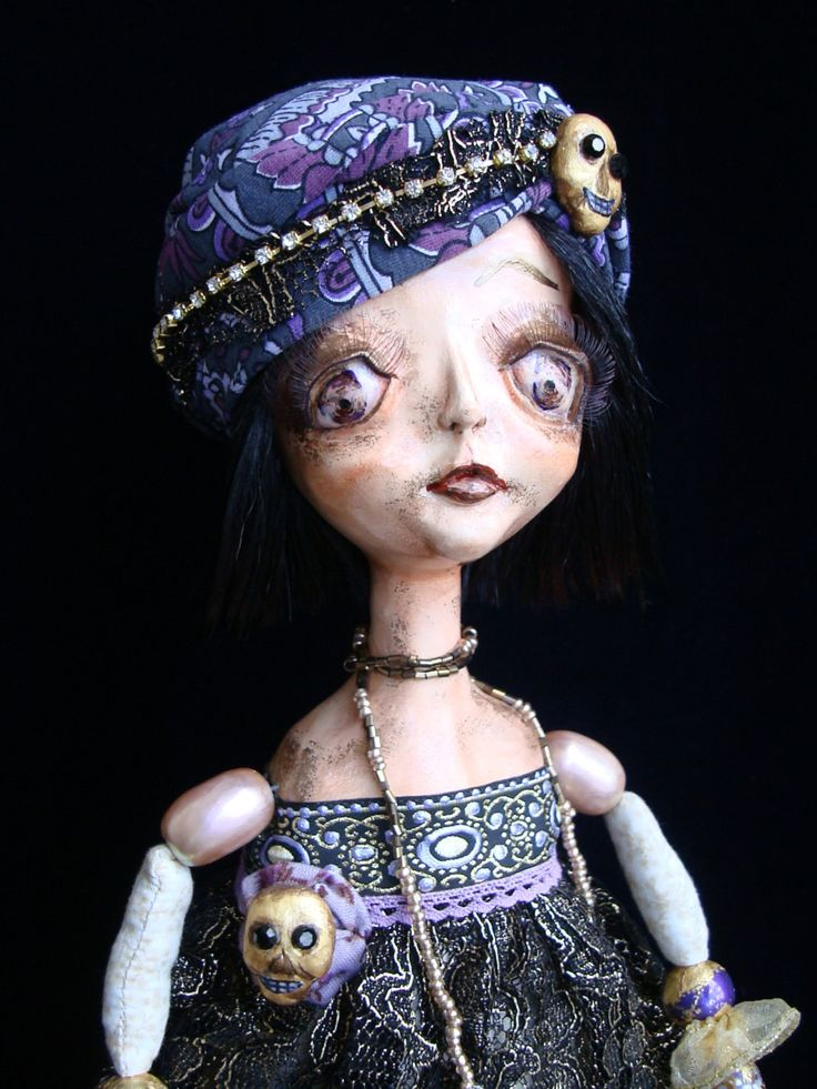 Gothic flapper doll, whimsycal big-eyed girl MOLLY, art deco style, boudoir poseable doll by DreamTrainOfDolls on Etsy