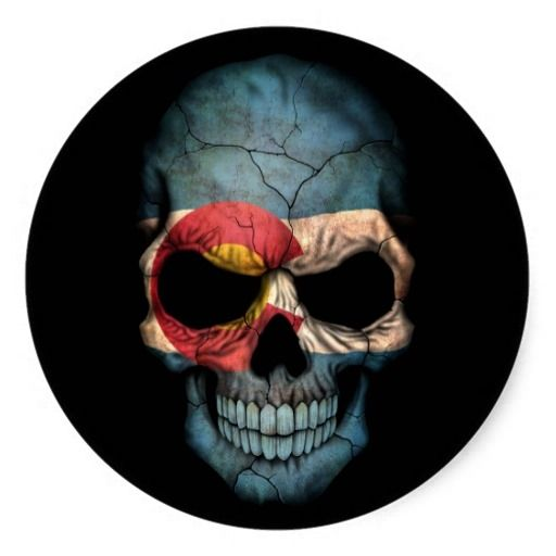 Colorado Flag Skull on Black Round Sticker