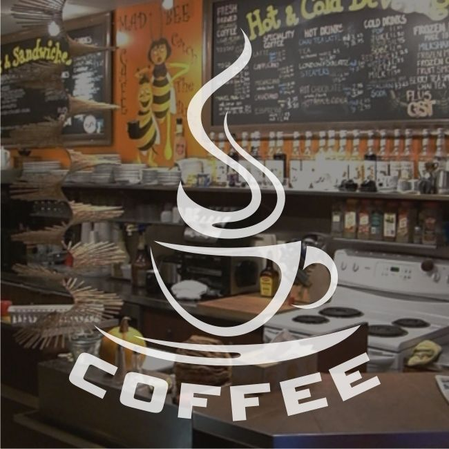 Coffee Shop Cafe Cup Window Sign Stickers Graphics Decal - Frosted Vinyl