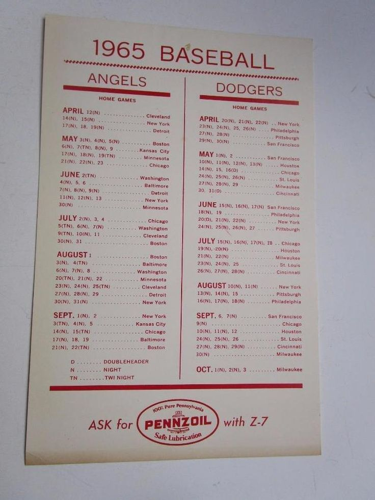 Vintage 1965 Pennzoil Angels Dodgers Baseball Schedule Advertising Card