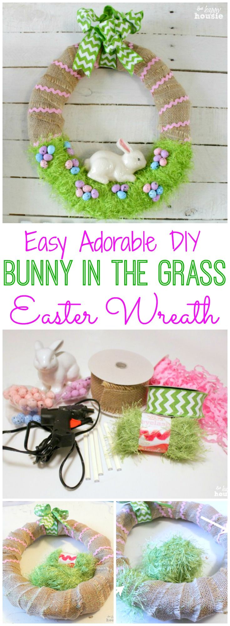 How to make an easy adorable DIY Bunny in the grass Easter Wreath or Spring Wreath at thehappyhousie.com