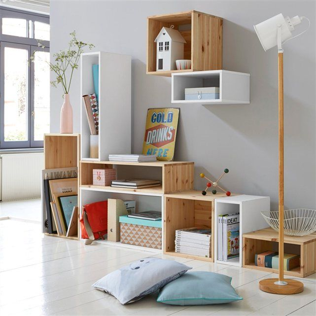 Lots of toy storage options in wooden cases.