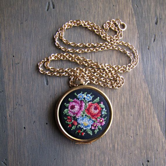 SALE The 1977 Petit Point Locket needlepoint by LittleSixty