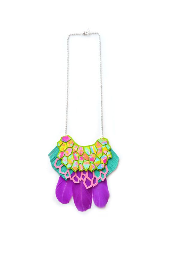 Leather Statement Necklace Purple Bib Necklace by BooandBooFactory