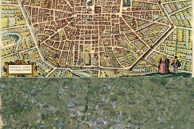 Bologna, Italy Map: Then (1588) and Now (2015)
