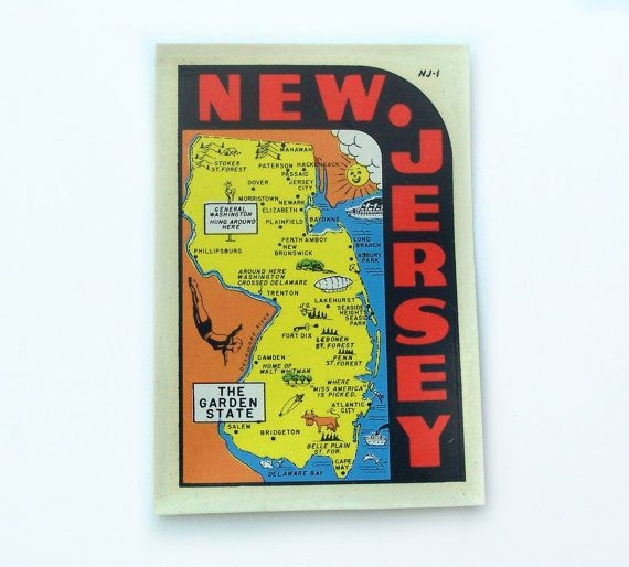 Vintage Decal New Jersey The Garden State by MargsMostlyVintage
