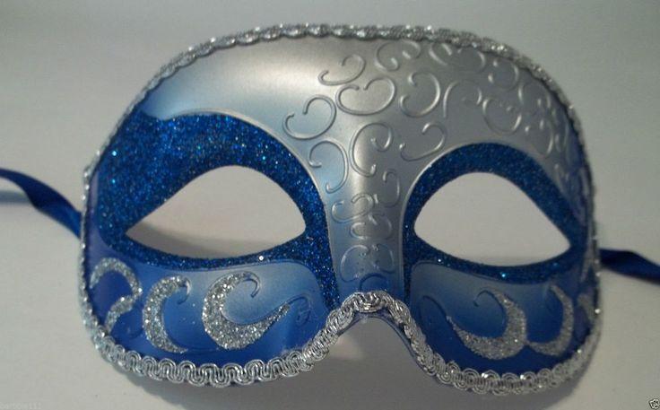 Blue Silver Venetian Men Elegant Masquerade Mardi Gras Halloween Costume Mask in Clothing, Shoes & Accessories, Costumes, Reenactment, Theater, Accessories | eBay