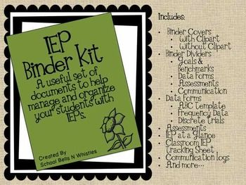 IEP Binder Kit! Includes assessments, IEP forms, Binder divider pages, parent questionnaire, data tracking, and more!
