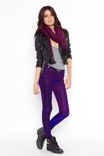 Shine On Jeans - StyleSays: A Mini-Saia Jeans, Stylesays Obsessions, Purple Jeans, Pants, Clothing Outfit, Rocks, Power Purple, Rocker Chic, Purple Shinee