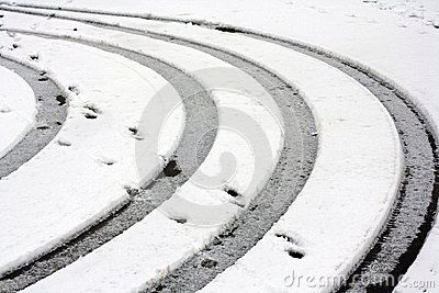 Abstract car trails made in snow