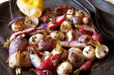 Roasted Radishes with Anchovies Recipes again, hold the anchovies