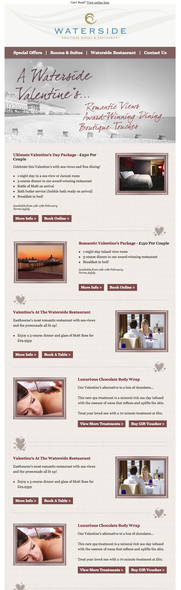 Our design for Valentine's at Waterside Boutique Hotel Eastbourne