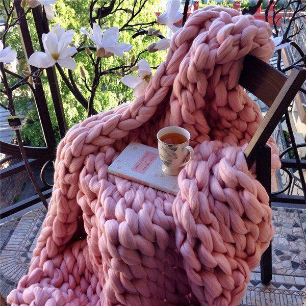 New Handmade Chunky Knit Blanket Thick Yarn Merino Throw Bed Sofa Decor