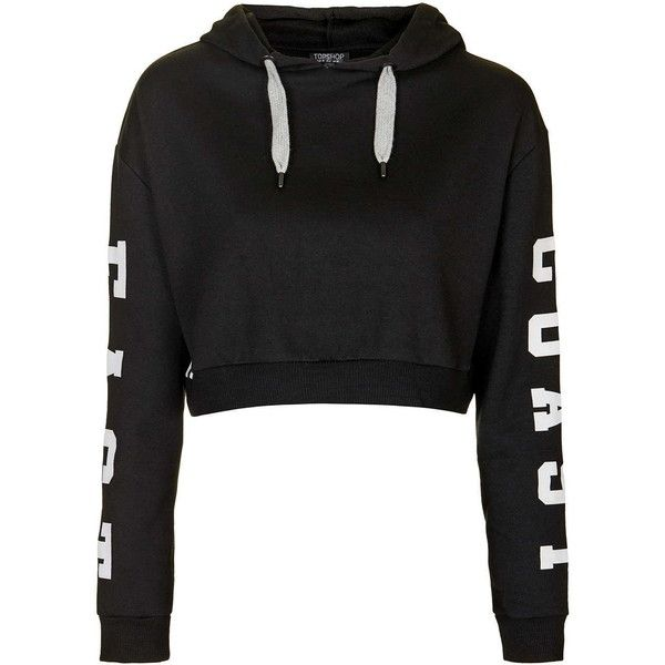 TopShop East Coast Cropped Hoodie (£28) ❤ liked on Polyvore featuring tops, hoodies, black, hooded crop top, embroidered hoodies, black hooded sweatshirt, cropped hoodies y cropped hooded sweatshirt
