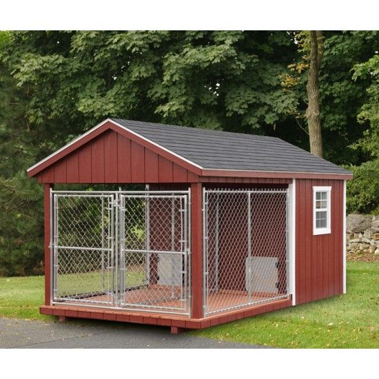 Amish double heated dog kennel 8x14 heated dog for Amish dog kennel plans
