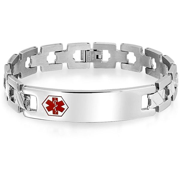 Bling Jewelry Bling Jewelry Mens Medical Identification Id Tag Open X... ($28) ❤ liked on Polyvore featuring men's fashion, men's jewelry, men's bracelets, red, mens watches jewelry, mens ties, mens id bracelet, mens engraved bracelets and mens red tie