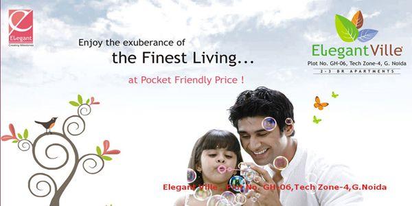 Elegant Ville INR : ` 3200/- Per Sq.Ft.      Type : Apartment     Size : 970 Sq.Ft. - 1565 Sq.Ft     Builder : ELEGANT     Address : GH-06B, Tech Zone-4, Greater Noida West)