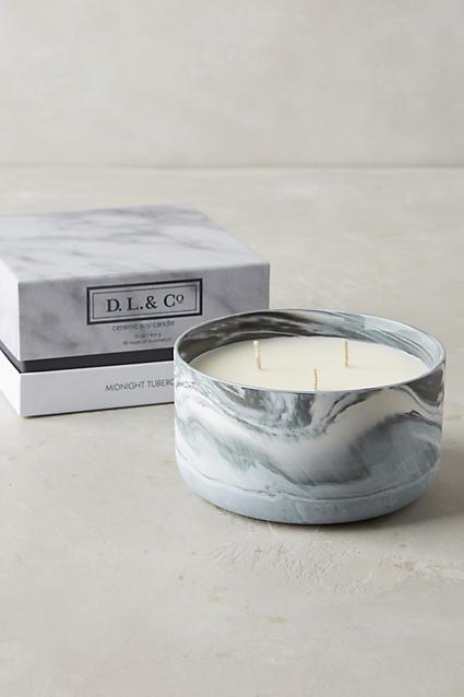 D. L. & Co. Marbled Candle - anthropologie.com