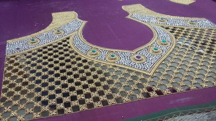 Cut work ,zari amd kundan embroidery for a Saree blouse