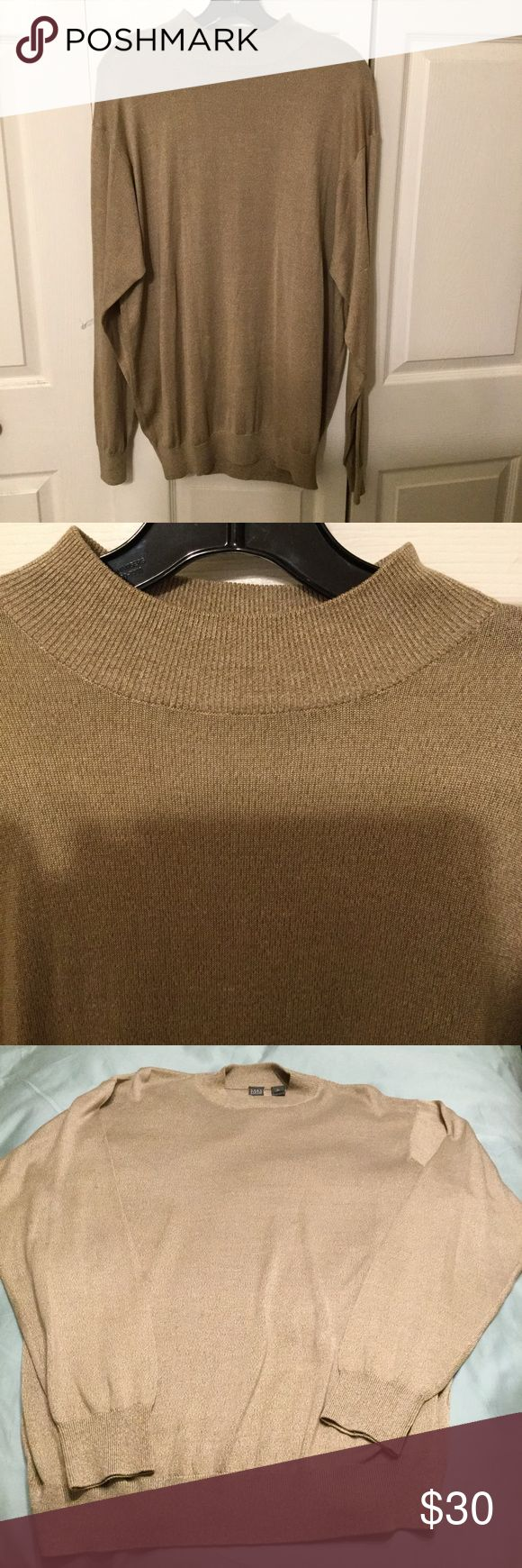 100% silk Saks sweater Tanish  light brown 100% silk long sleeve sweater....very soft and light.  Has two very small unnoticeable snags in lower back as shown...otherwise good condition. Saks Fifth Avenue Sweaters