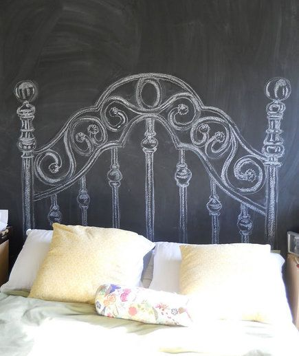 Chalkboard Headboard | A headboard can give your bedroom a more polished, finished look. But if you haven't gotten around to buying one (or can't afford the splurge), why not make your own? Take a look at these DIY headboard ideas that range from easy to advanced.