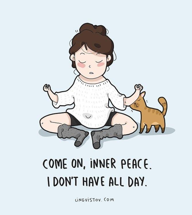 Lingvistov On Instagram Trying To Meditate Today Lingvistov Com Funny Illustration Doodle Drawing Cute Funny Doodles Cute Quotes Funny Illustration