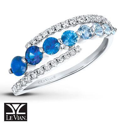 LeVian Natural Sapphire Ring 1/4 cttw Diamonds 14K Vanilla Gold