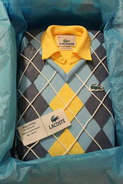 Lacoste Shirt - 'Replica' appears folded in gift box! Men's Cake idea, stylish [One layer, Sheet Cake]