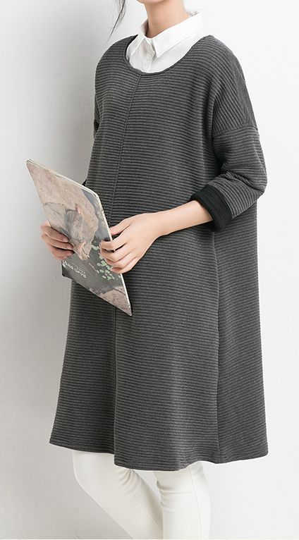 2016 New Gray cotton dresses long sleeve spring dress women blouse top shirt