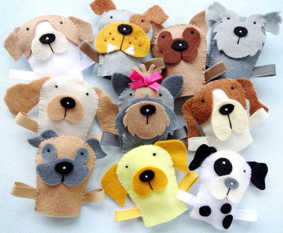Felt Dog Finger Puppets Sewing Pattern PDF por preciouspatterns