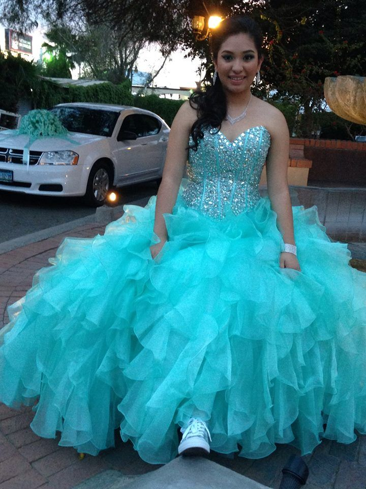 Mint Green Quinceanera dress and sparkle tennis shoes