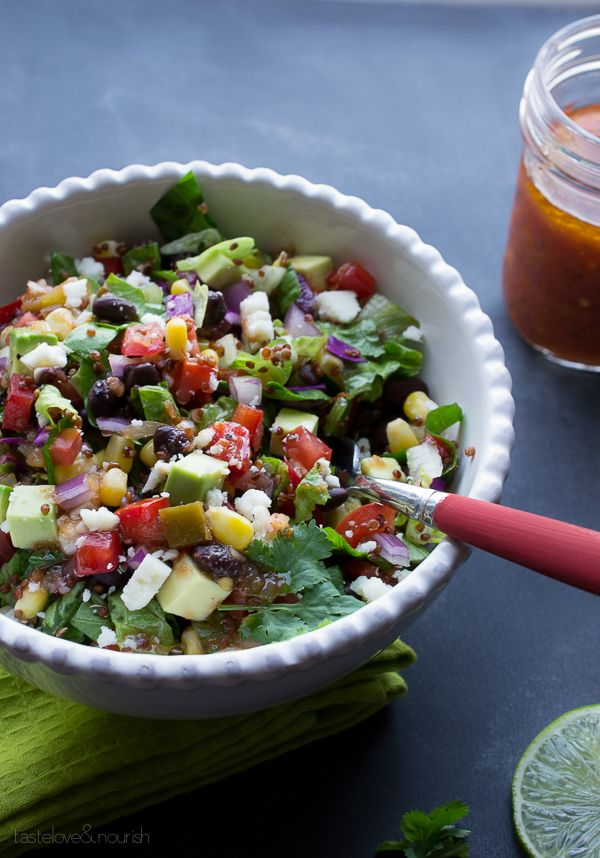 Southwest Chopped Salad with Salsa Vinaigrette | @tasteLUVnourish