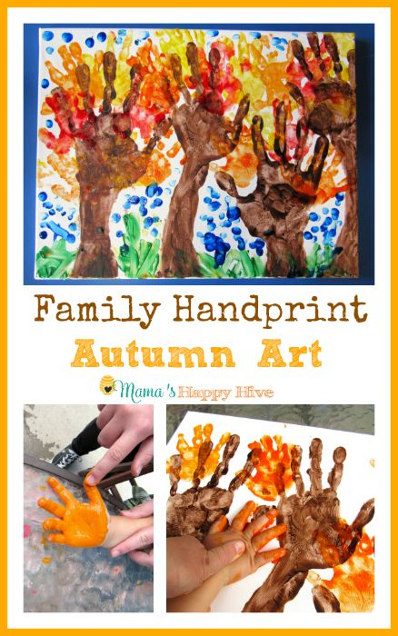Family Handprint - Autumn Art - www.mamashappyhive.com