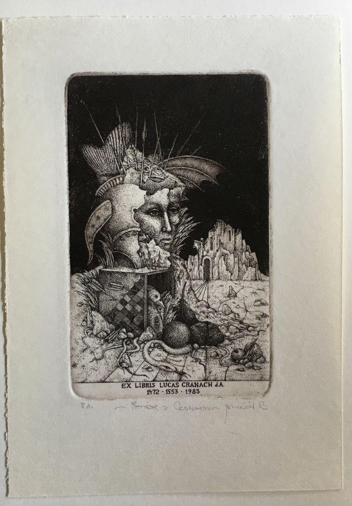 """Exlibris von Zdenek BUGAN """"Lucas Cranach""""  Blattgröße: 130 x180mm Druckgröße: 80x120 mm"""