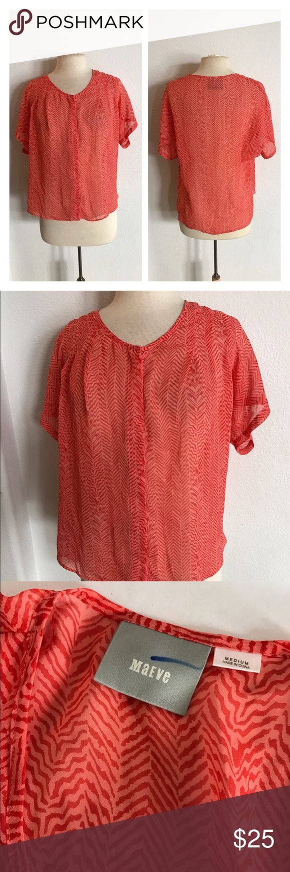 "Maeve chevron Blouse Maeve chevron blouse. Size M. Measures 26"" long with a 38"" bust. Pink/ orange colors. Hidden buttons down the front. This is completely sheer. Material tag has been removed. Very great used condition.  🚫NO TRADES 💲Reasonable offers accepted 💰Ask about bundle discounts Anthropologie Tops Blouses"