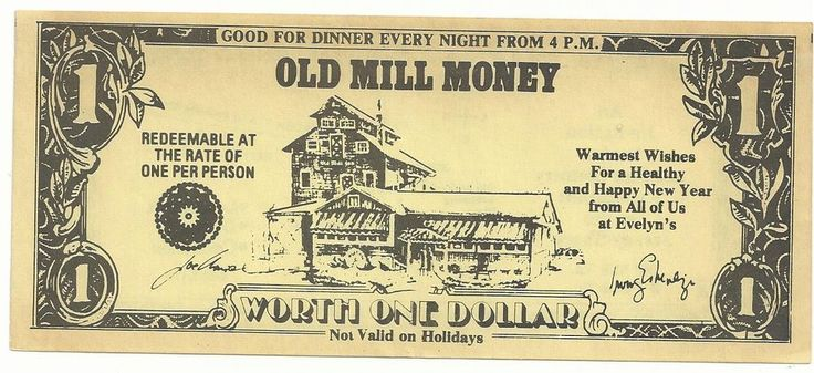 Old Mill Inn Spring Lake Heights NJ One Dollar Note Paper Scrip Ticket Token