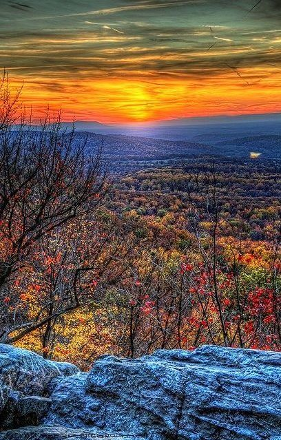 Bears Den Overlook, Appalachian Trail, Bluemont, Virginia.  I'd get up early to see that sunrise!