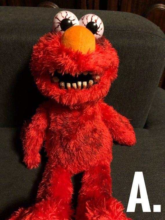 Nightmare Tickle Me Elmo Creepy Scary Horror Ooak Dolls Etsy Scary Elmo Creepy