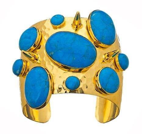 """Sumptuously crafted turquoise and spike cuff.  Nothing says high octane glamour like a big """"Goddess"""" cuffs."""