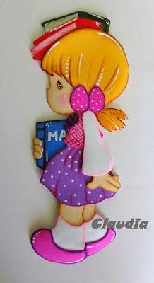 Hola!!!! Hoy les dejo los moldes de estas preciosas muñecas. Las hice para decorar los cuadernos de las respectivas áreas: Comunicación, Rel...