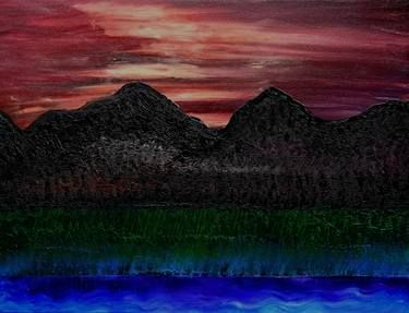 SOLD: Original Painting: Taking It In by Sandra Spalding. #landscape #terrain #environment #CountrySide #earth #land #view #Elevations #ridges #alps #mountains #highlands #peas #mounts #foothills #sky #sunset #dusk #nightfall #sundown #twilight #eve #water #lake #nature #pond #sunrise #black #blue #green #red #scenic #scenery #outdoors #alfresco #air #outside #texture #paint #clouds #light #evening #dawn #daybreak #daylight #morning #sunup